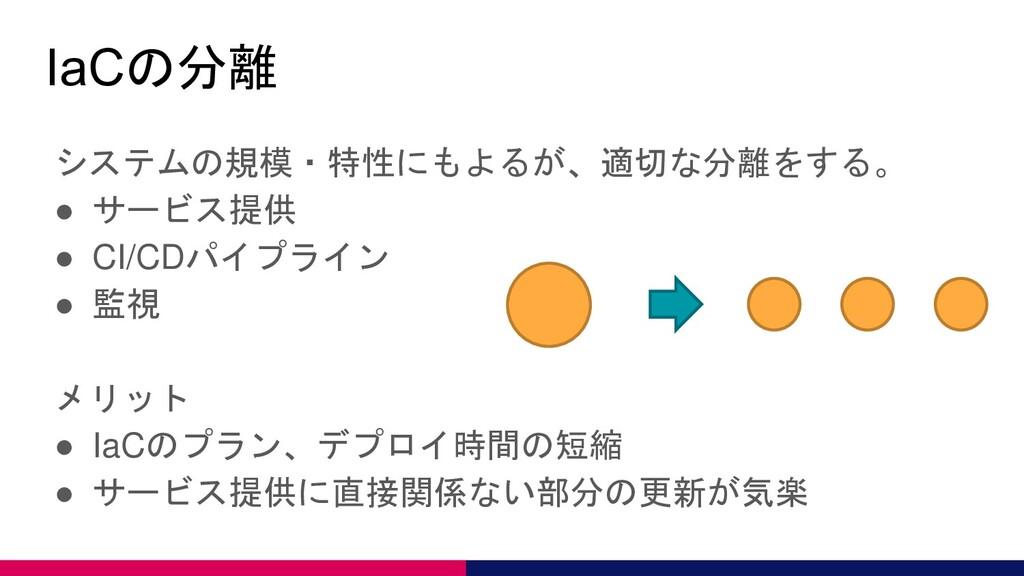 IaCの分離 システムの規模・特性にもよるが、適切な分離をする。 ● サービス提供 ● CI/...