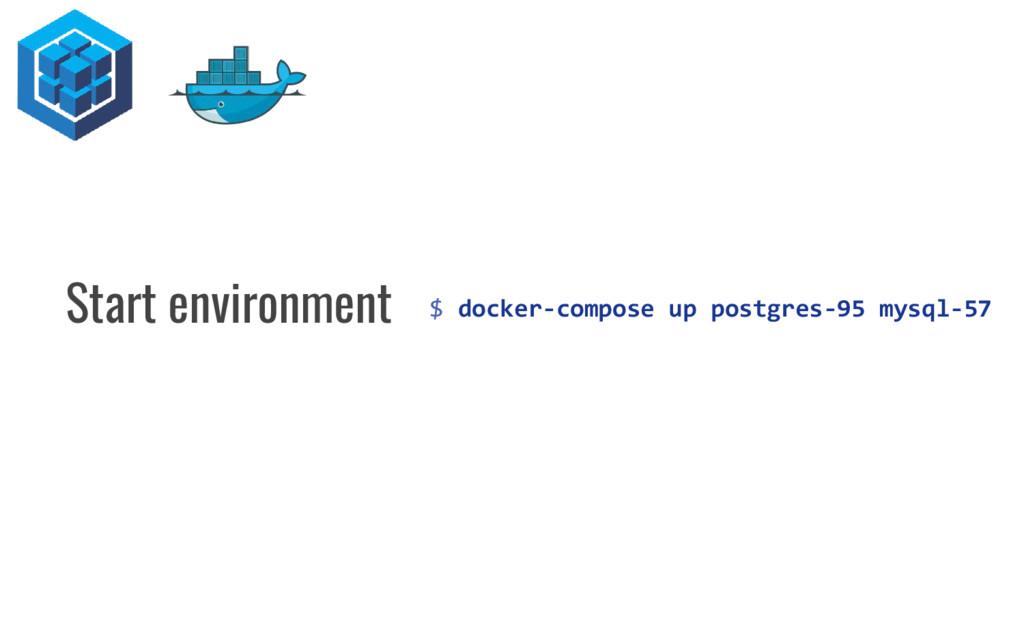 $ docker-compose up postgres-95 mysql-57 Start ...