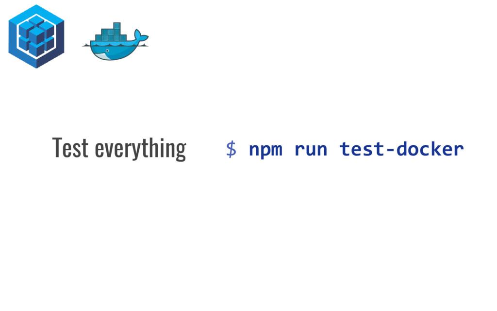 $ npm run test-docker Test everything