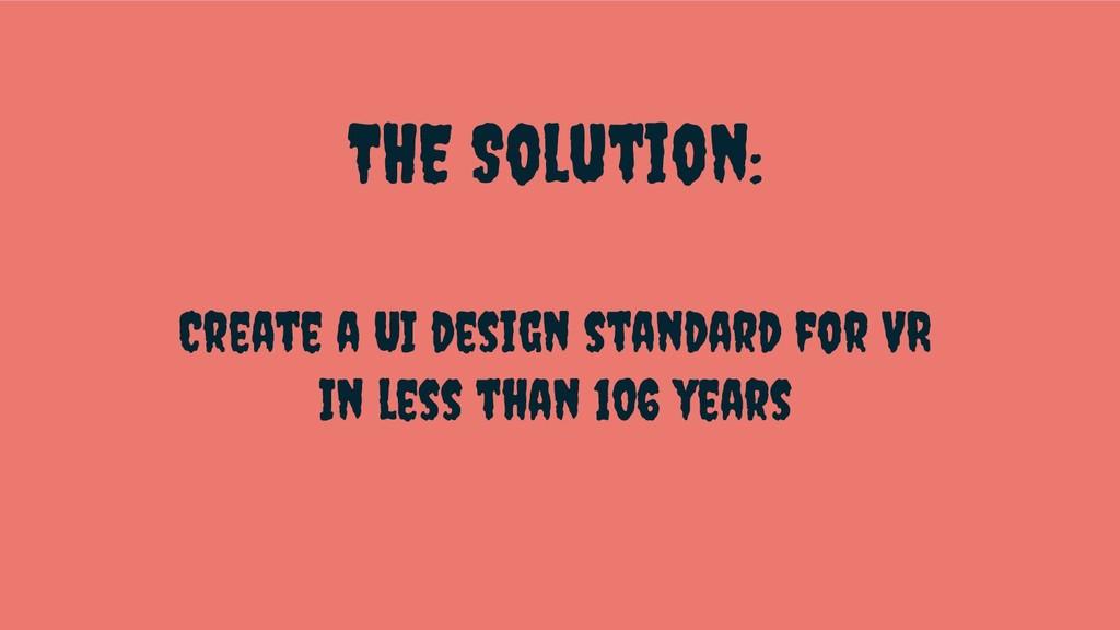 THE Solution: Create a UI design standard for V...