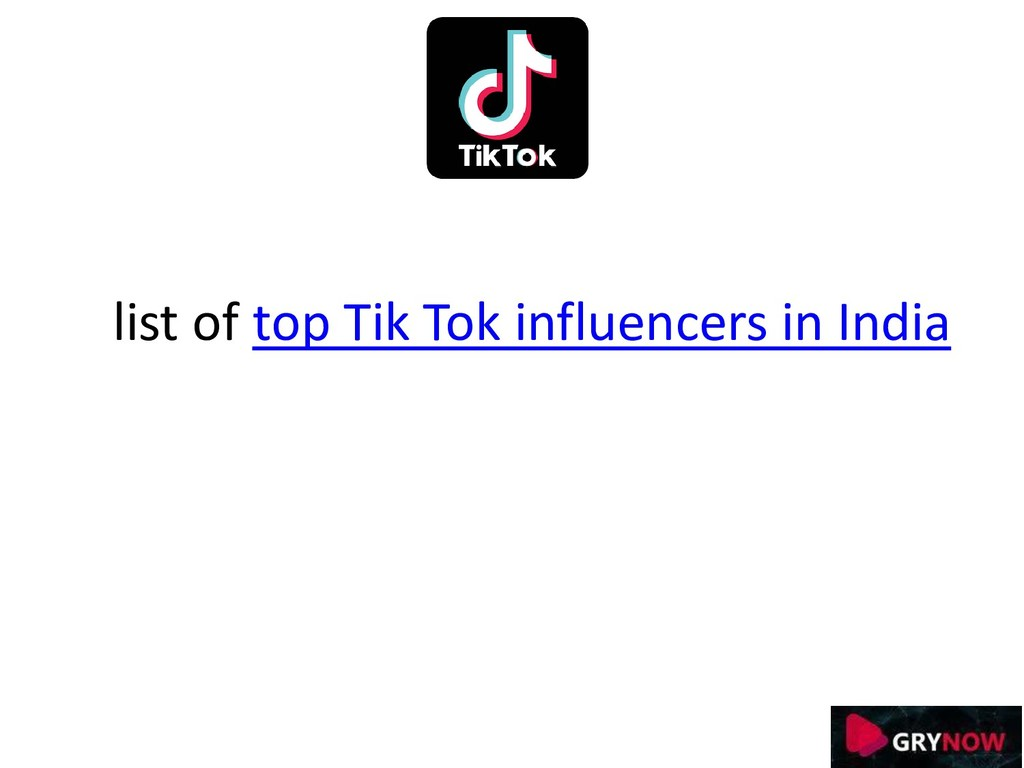 list of top Tik Tok influencers in India
