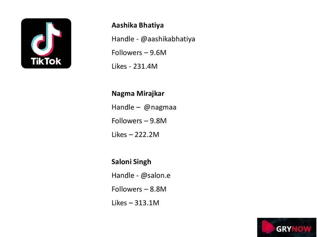 Aashika Bhatiya Handle - @aashikabhatiya Follow...
