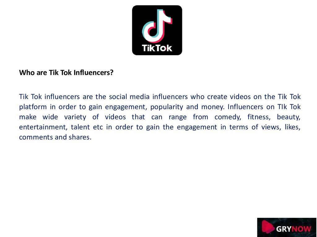 Who are Tik Tok Influencers? Tik Tok influencer...