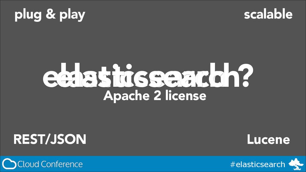 #elasticsearch elasticsearch ? plug & play REST...
