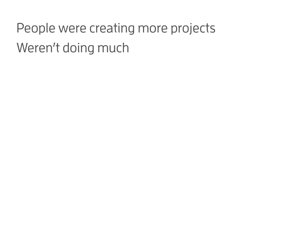 People were creating more projects Weren't doin...