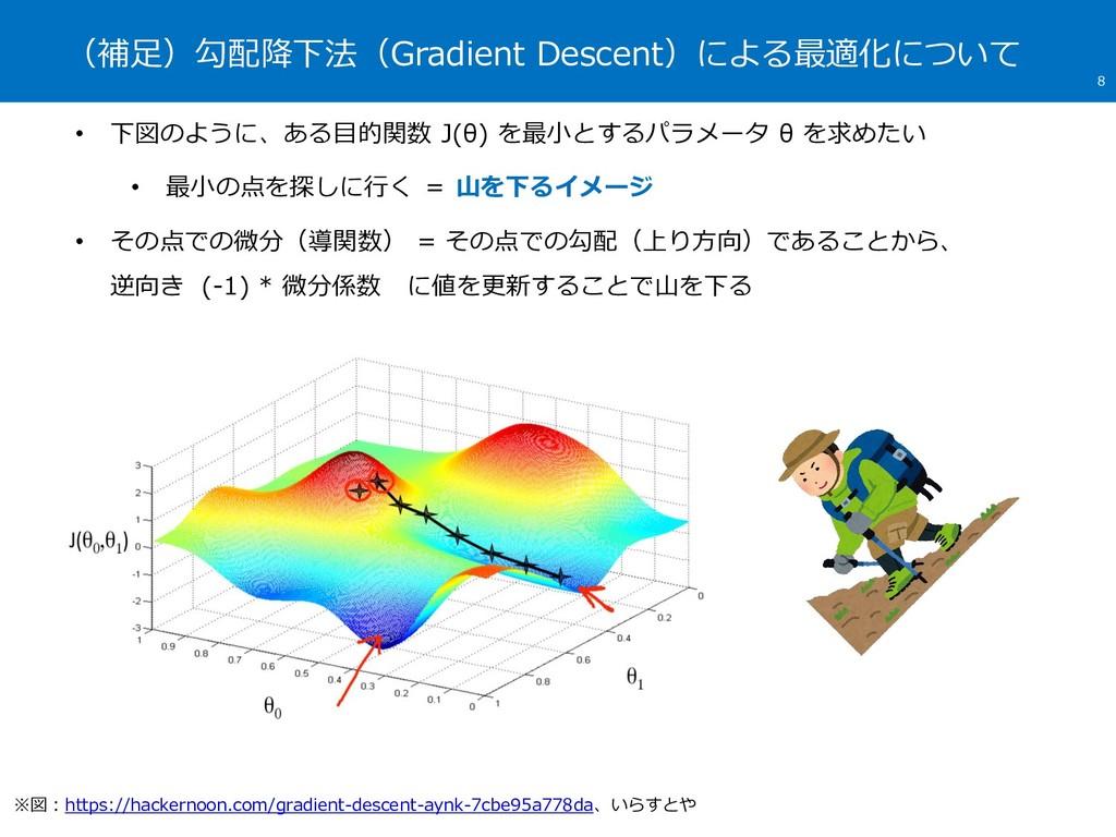 (補足)勾配降下法(Gradient Descent)による最適化について 8 • 下図のよう...