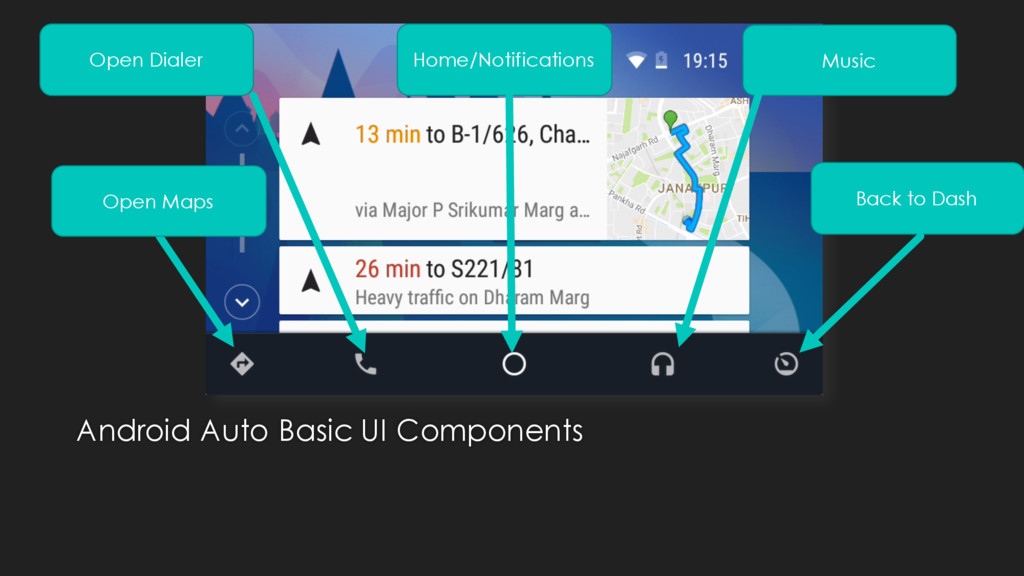 Android Auto Basic UI Components Open Maps Open...