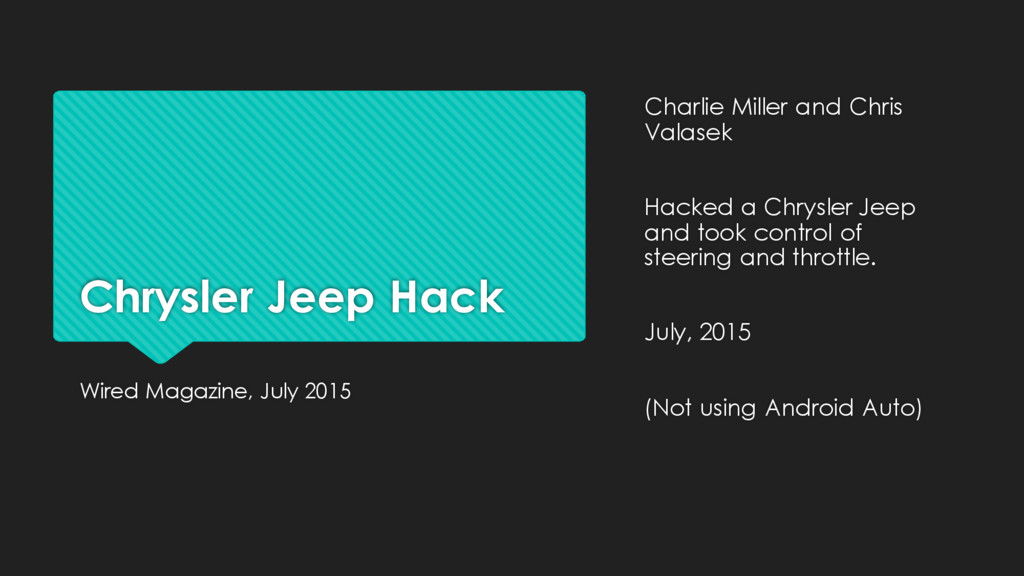 Chrysler Jeep Hack Wired Magazine, July 2015 Ch...
