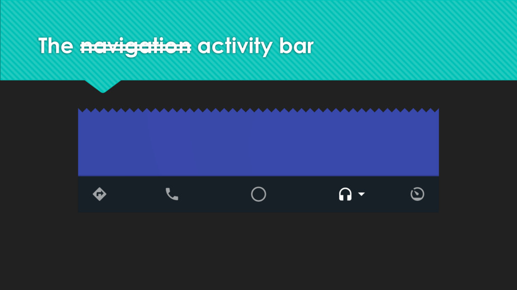 The navigation activity bar