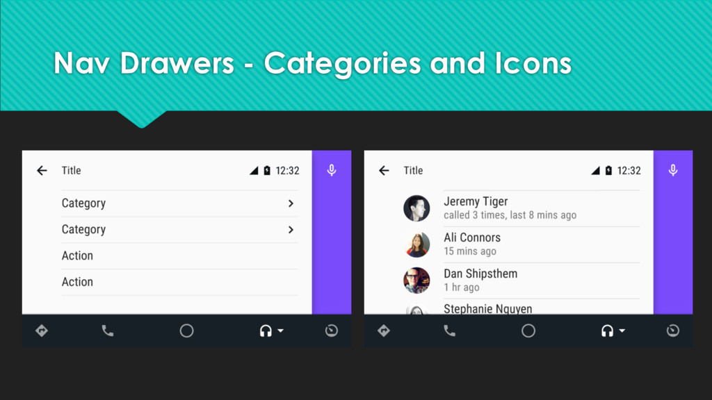 Nav Drawers - Categories and Icons