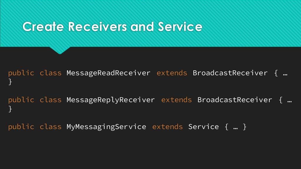 Create Receivers and Service public class Messa...