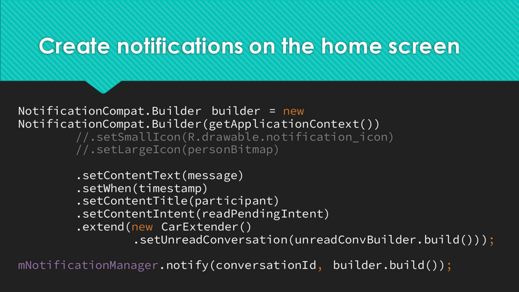 Create notifications on the home screen Notific...