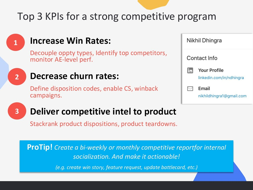 Top 3 KPIs for a strong competitive program Inc...
