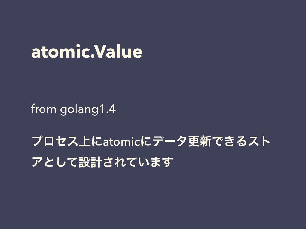 atomic.Value from golang1.4 ! ϓϩηε্ʹatomicʹσʔλߋ...