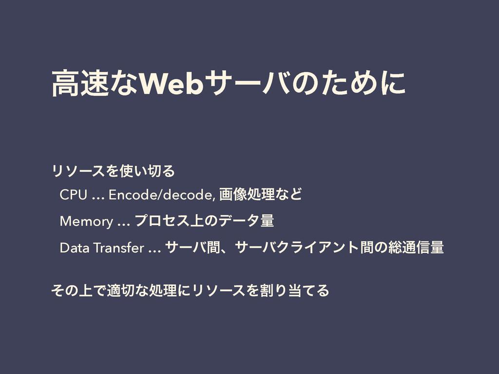 ߴͳWebαʔόͷͨΊʹ ϦιʔεΛ͍Δ CPU … Encode/decode, ը૾...