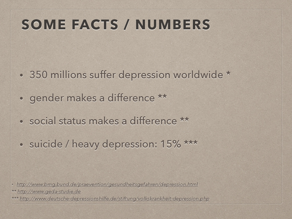 SOME FACTS / NUMBERS • 350 millions suffer depr...