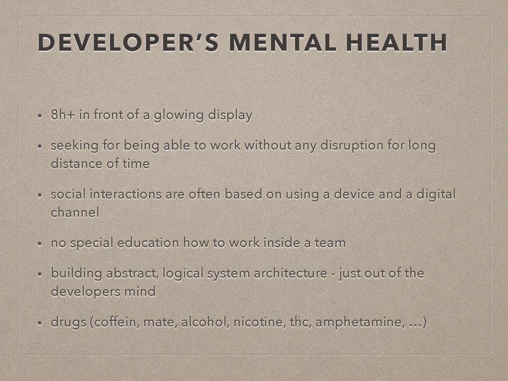 DEVELOPER'S MENTAL HEALTH • 8h+ in front of a g...