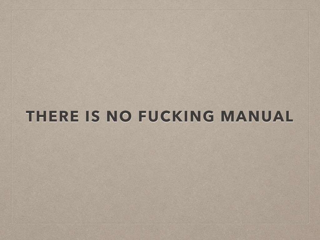 THERE IS NO FUCKING MANUAL
