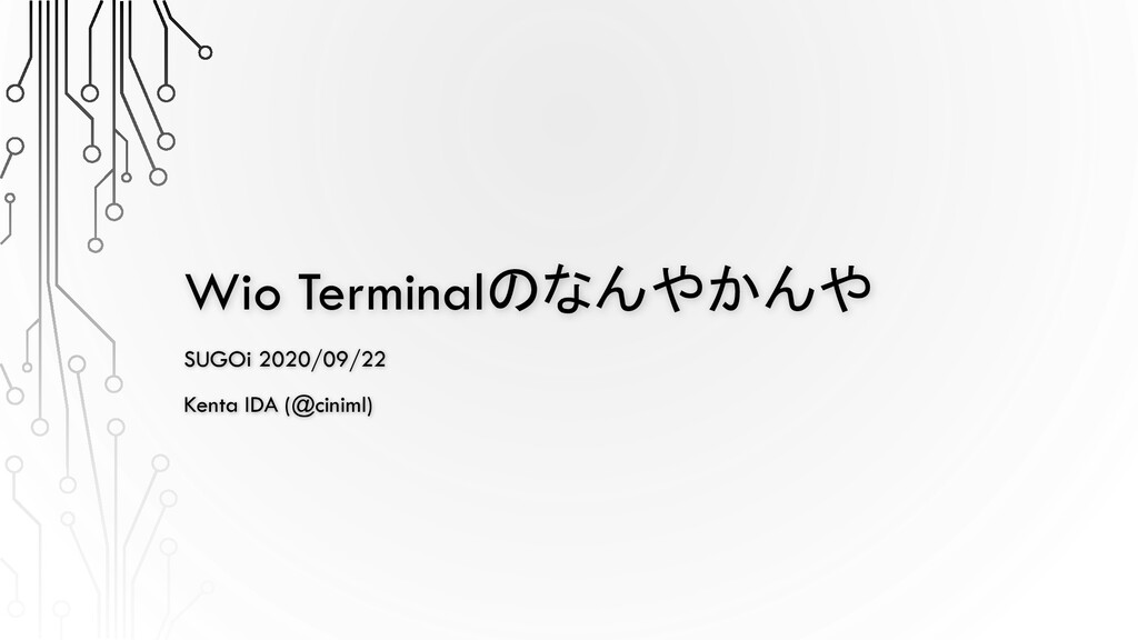 Wio Terminalのなんやかんや SUGOi 2020/09/22 Kenta IDA ...