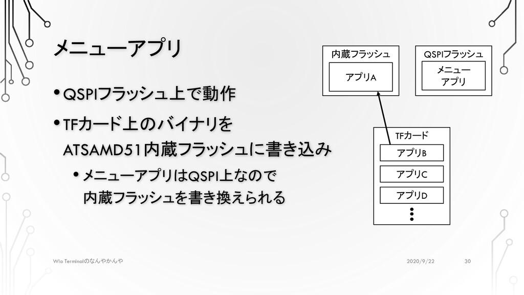 メニューアプリ 2020/9/22 Wio Terminalのなんやかんや •QSPIフラッシ...