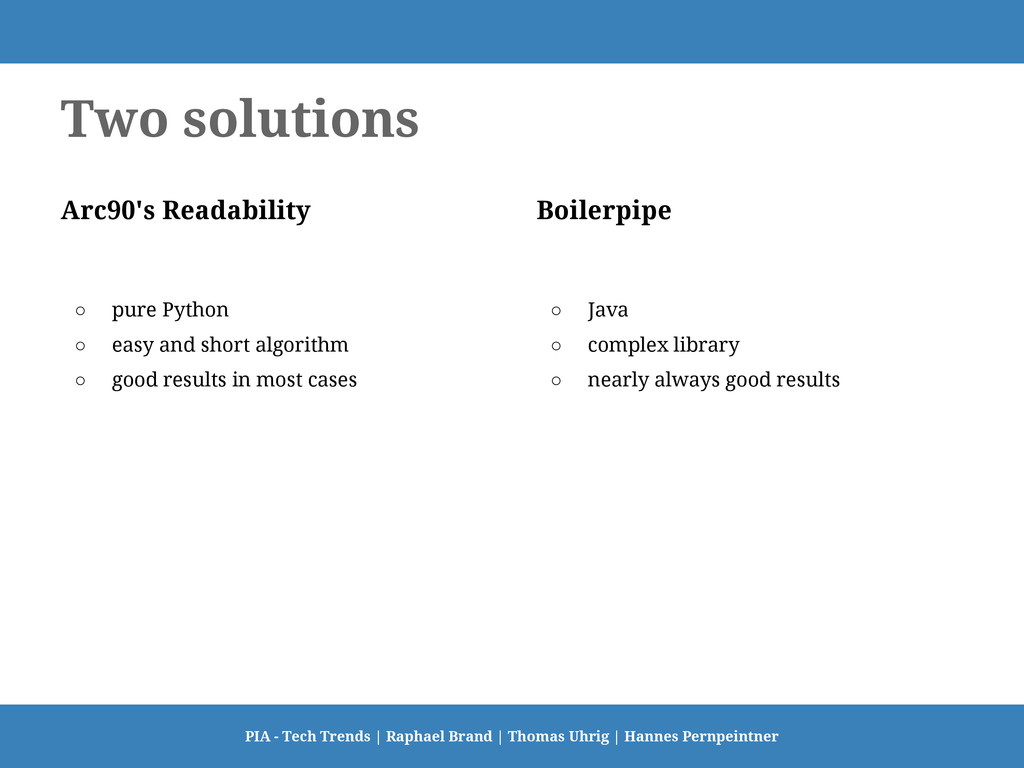 Two solutions Arc90's Readability ○ pure Python...