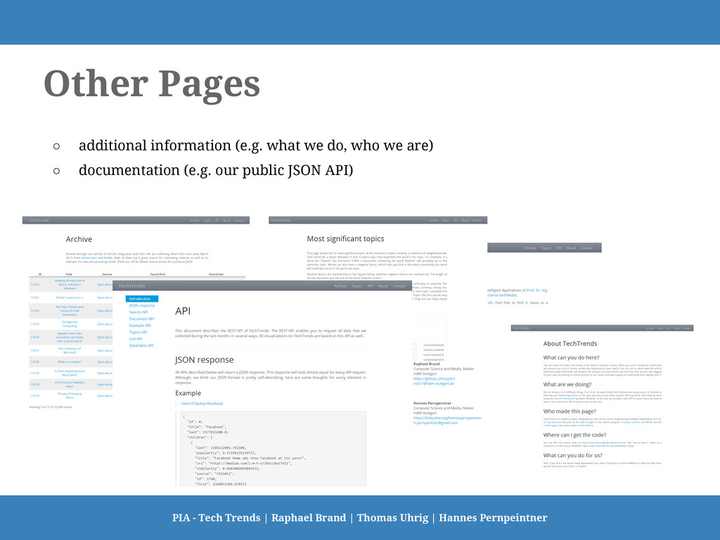 Other Pages ○ additional information (e.g. what...