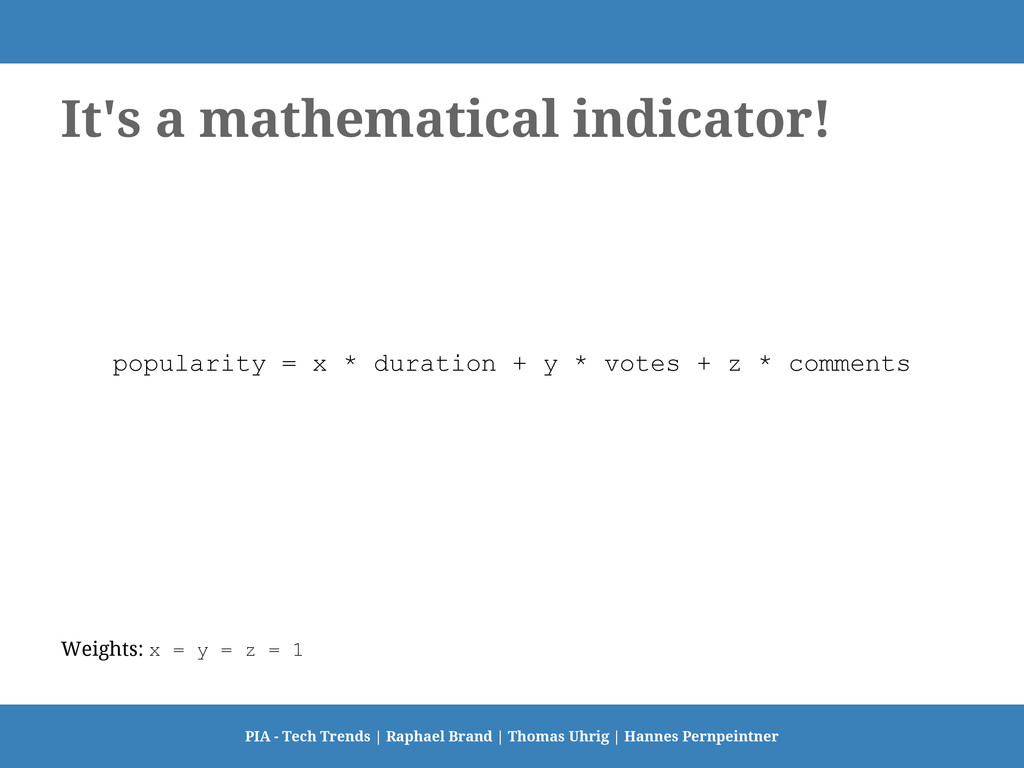 It's a mathematical indicator! popularity = x *...