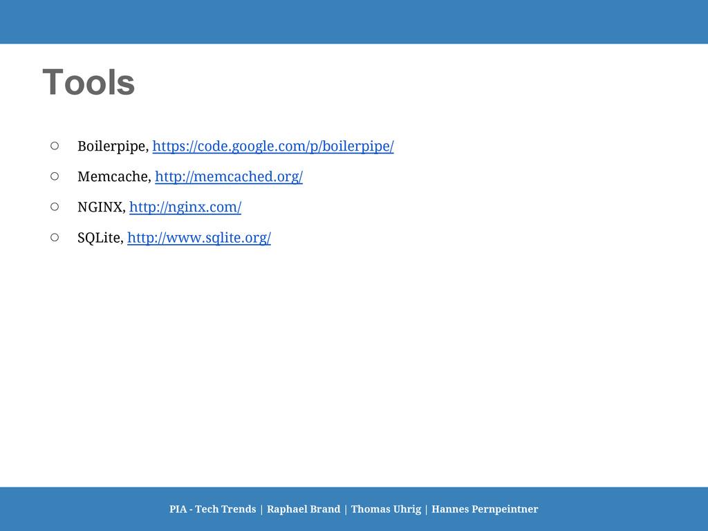 Tools ○ Boilerpipe, https://code.google.com/p/b...