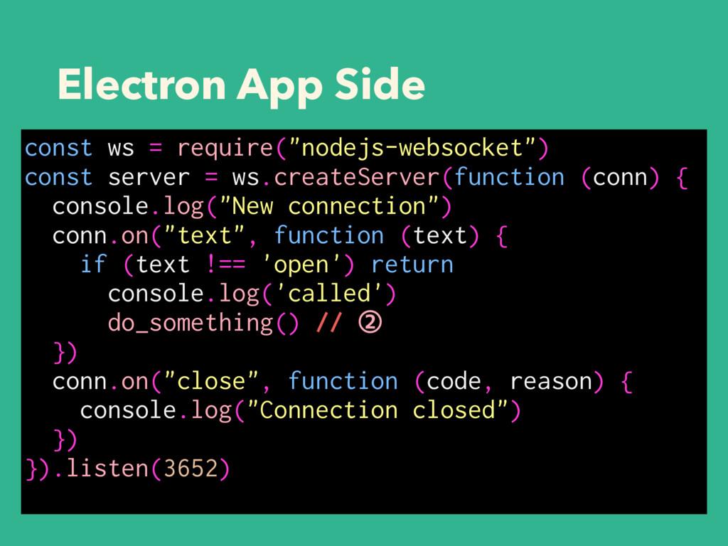 "Electron App Side const ws = require(""nodejs-we..."