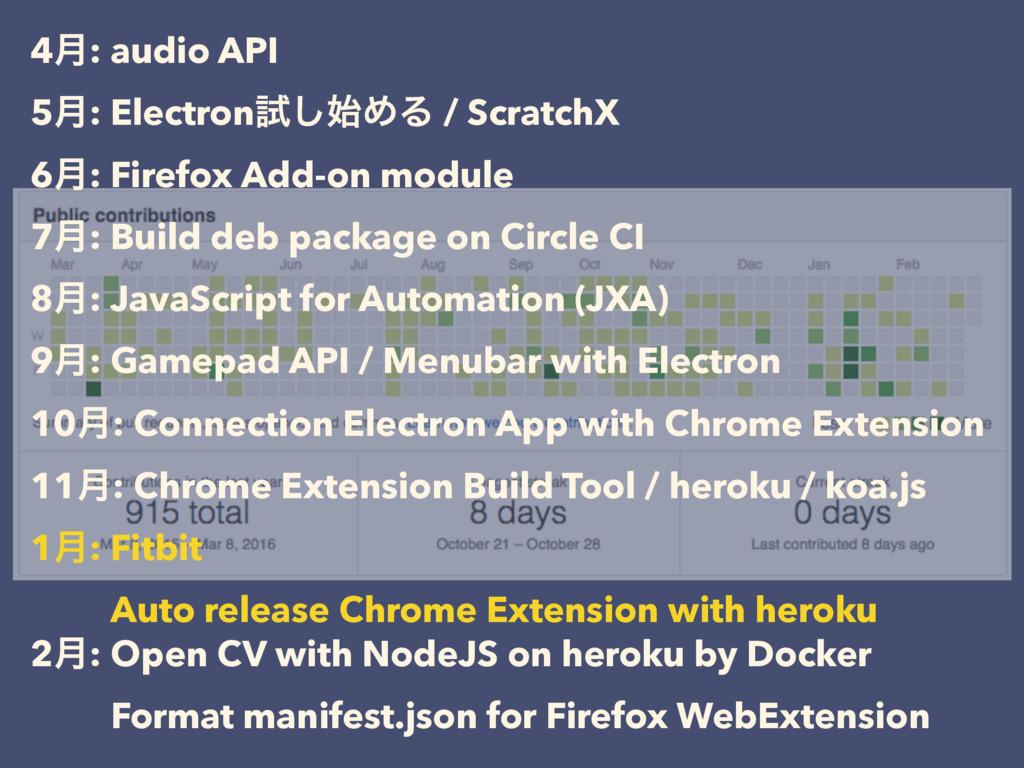 4݄: audio API 5݄: Electronࢼ͠ΊΔ / ScratchX 6݄: ...
