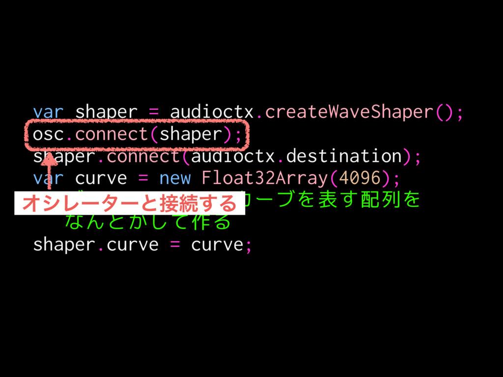 var shaper = audioctx.createWaveShaper(); osc.c...