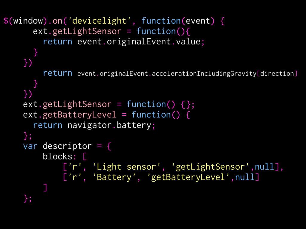 $(window).on('devicelight', function(event) { e...