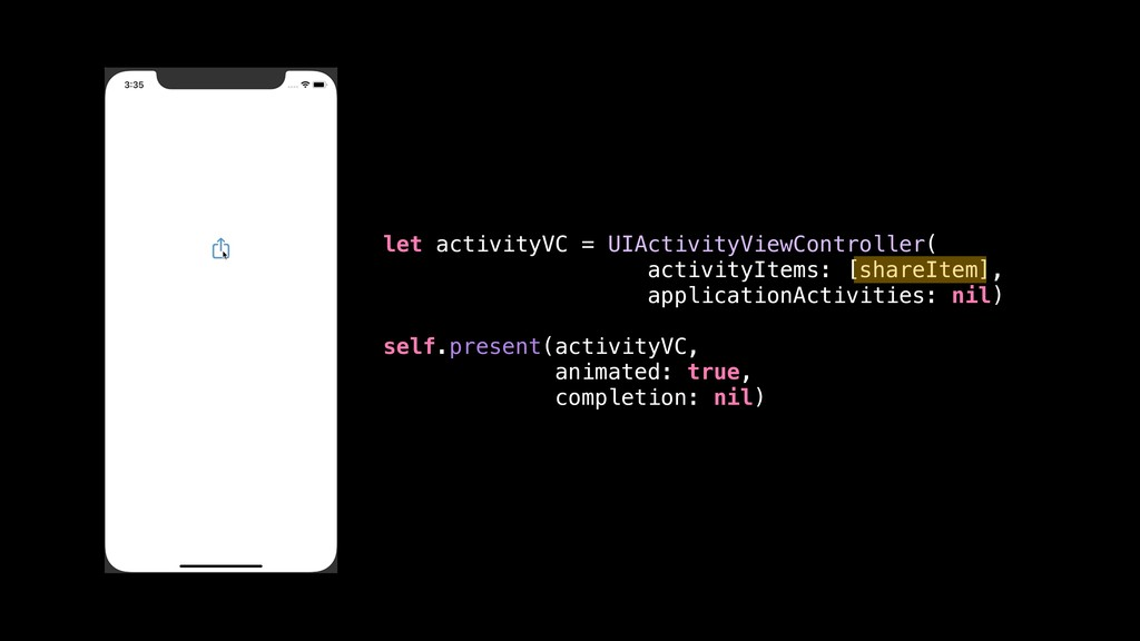 let activityVC = UIActivityViewController( acti...