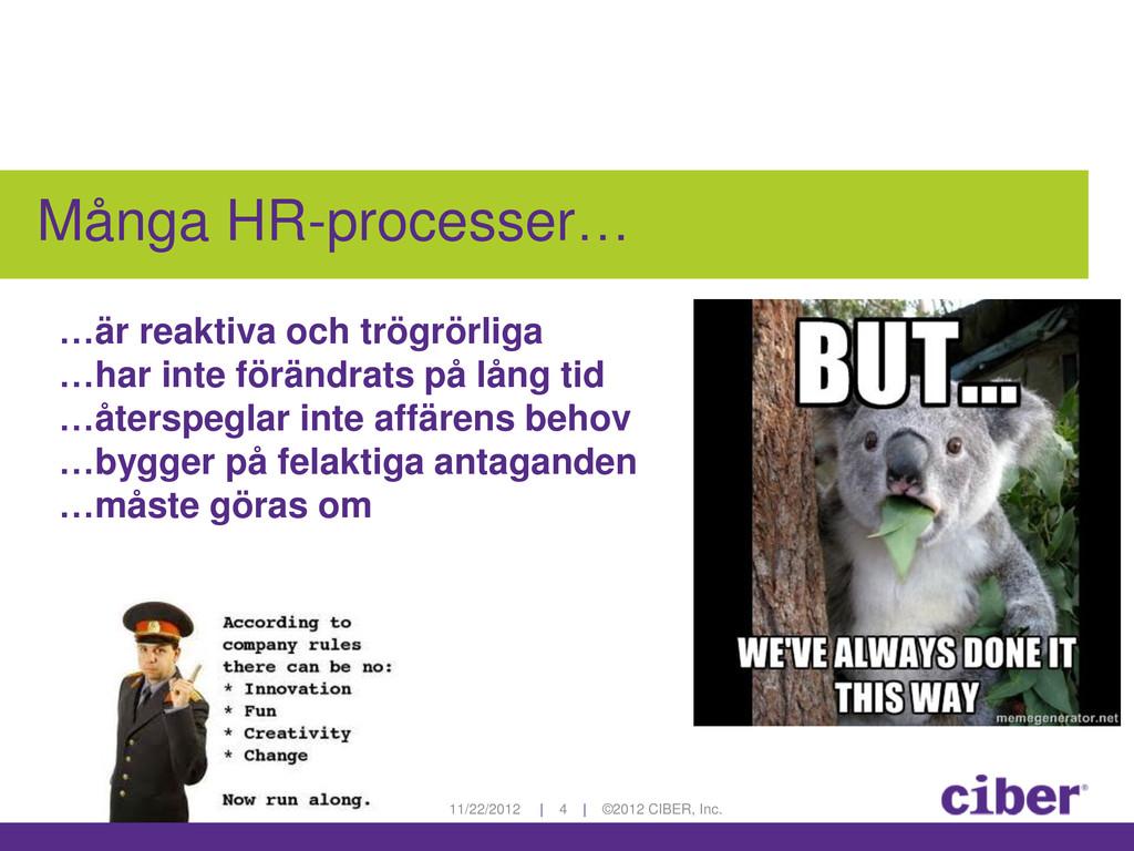 11/22/2012 | 4 | ©2012 CIBER, Inc. …är reaktiva...