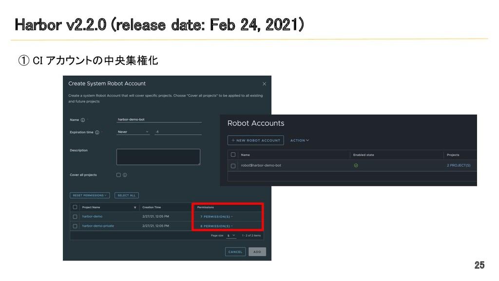 Harbor v2.2.0 (release date: Feb 24, 2021) ① C...