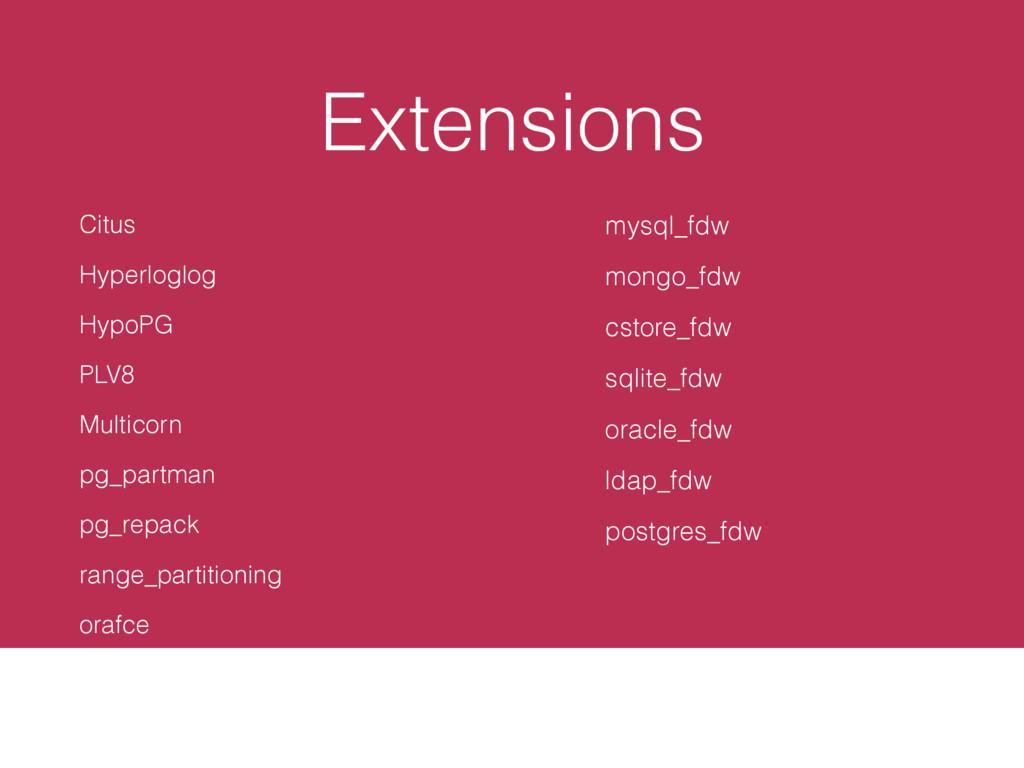 Extensions Citus Hyperloglog HypoPG PLV8 Multic...