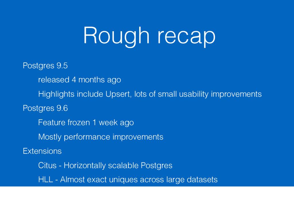 Rough recap Postgres 9.5 released 4 months ago ...