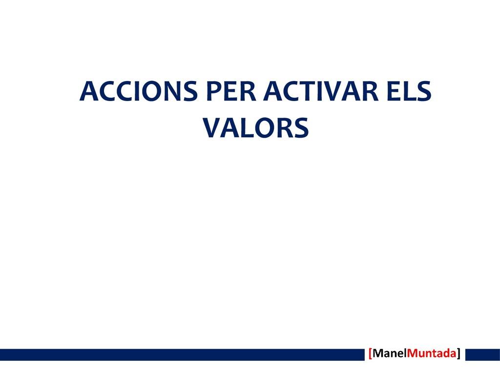 ACCIONS PER ACTIVAR ELS VALORS