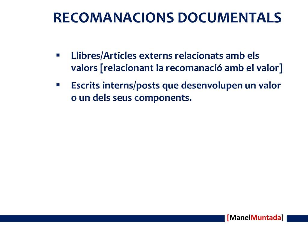 RECOMANACIONS DOCUMENTALS  Llibres/Articles ex...