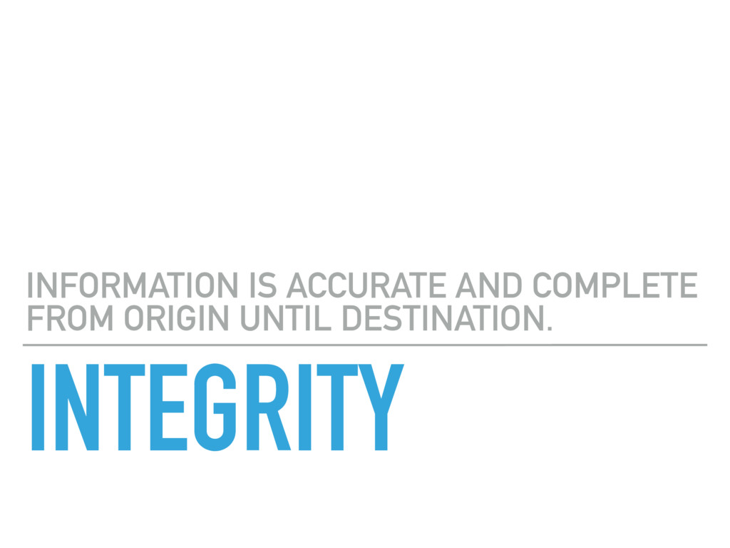 INTEGRITY INFORMATION IS ACCURATE AND COMPLETE ...