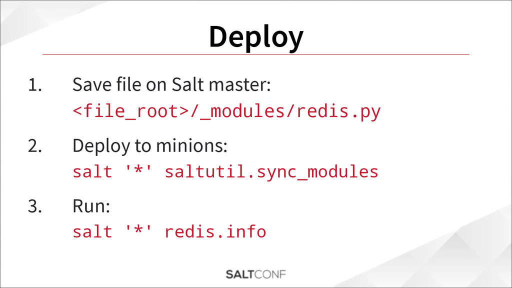 Deploy 1. Save file on Salt master: