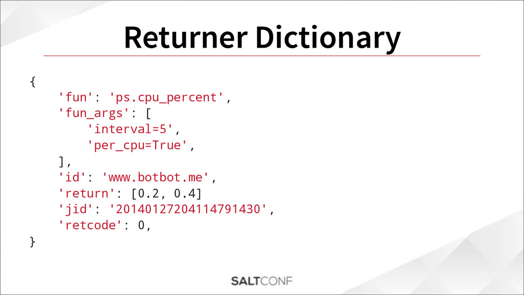 Returner Dictionary { 'fun': 'ps.cpu_percent', ...