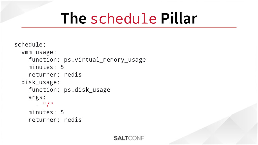 The schedule Pillar schedule: vmm_usage: functi...