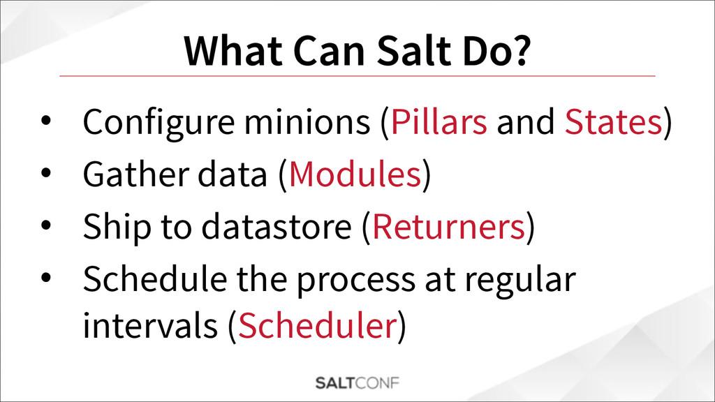What Can Salt Do? • Configure minions (Pillars ...