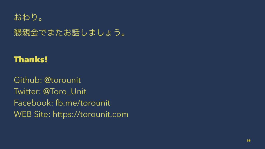 ͓ΘΓɻ ࠙ձͰ·͓ͨ͠·͠ΐ͏ɻ Thanks! Github: @torounit T...