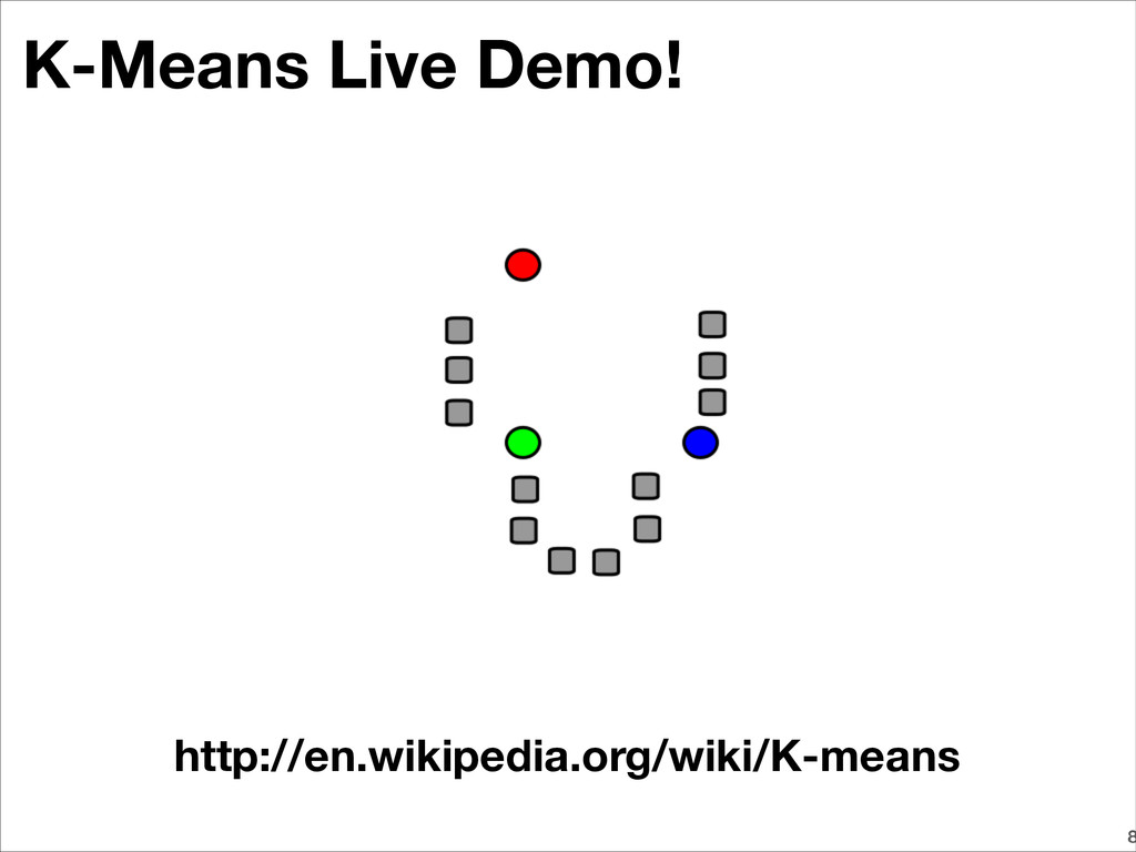 K-Means Live Demo! 8 http://en.wikipedia.org/wi...