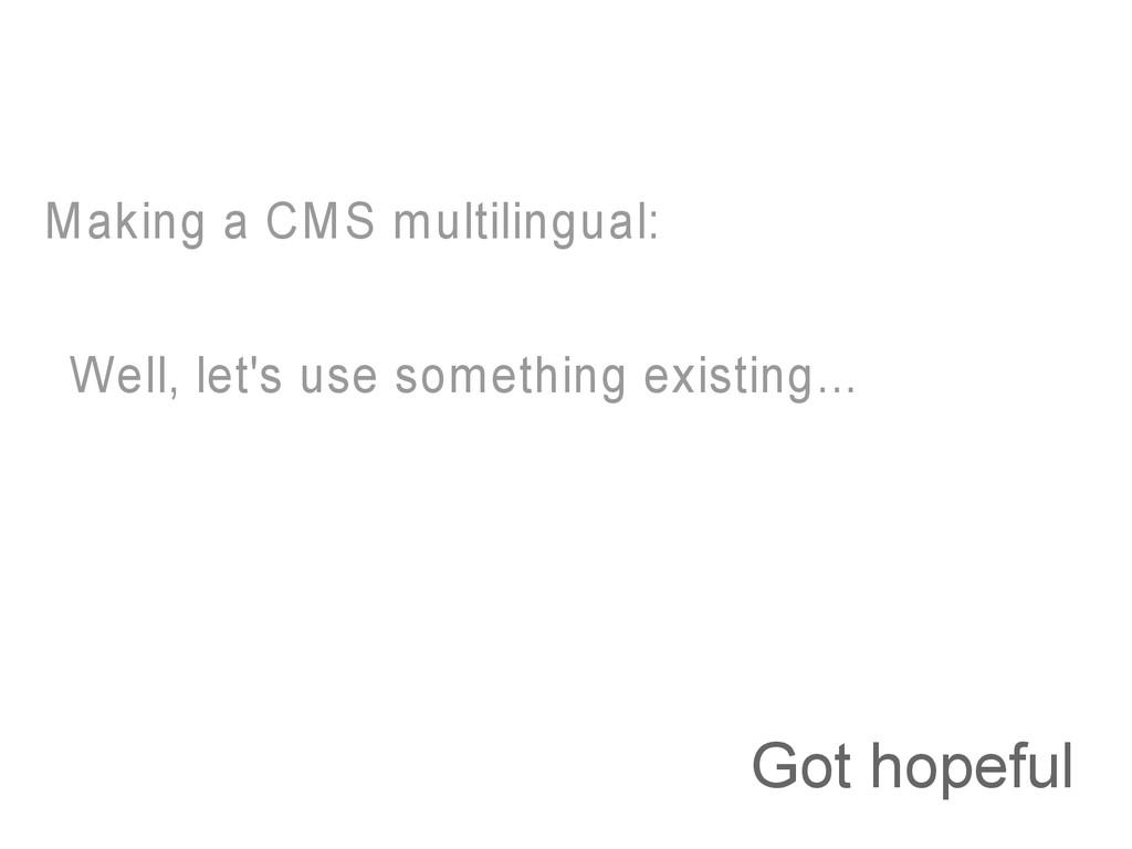 Got hopeful Making a CMS multilingual: Well, le...