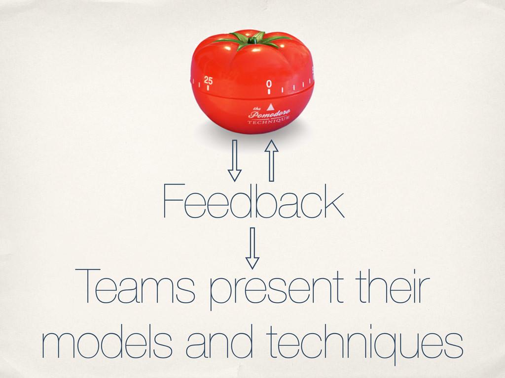 Feedback Teams present their models and techniq...