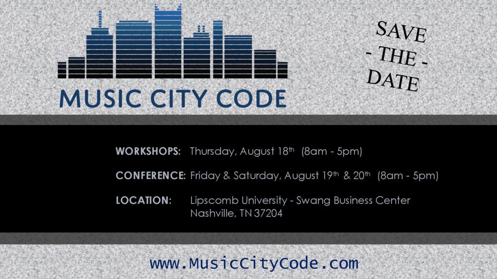 WORKSHOPS: Thursday, August 18th (8am - 5pm) CO...