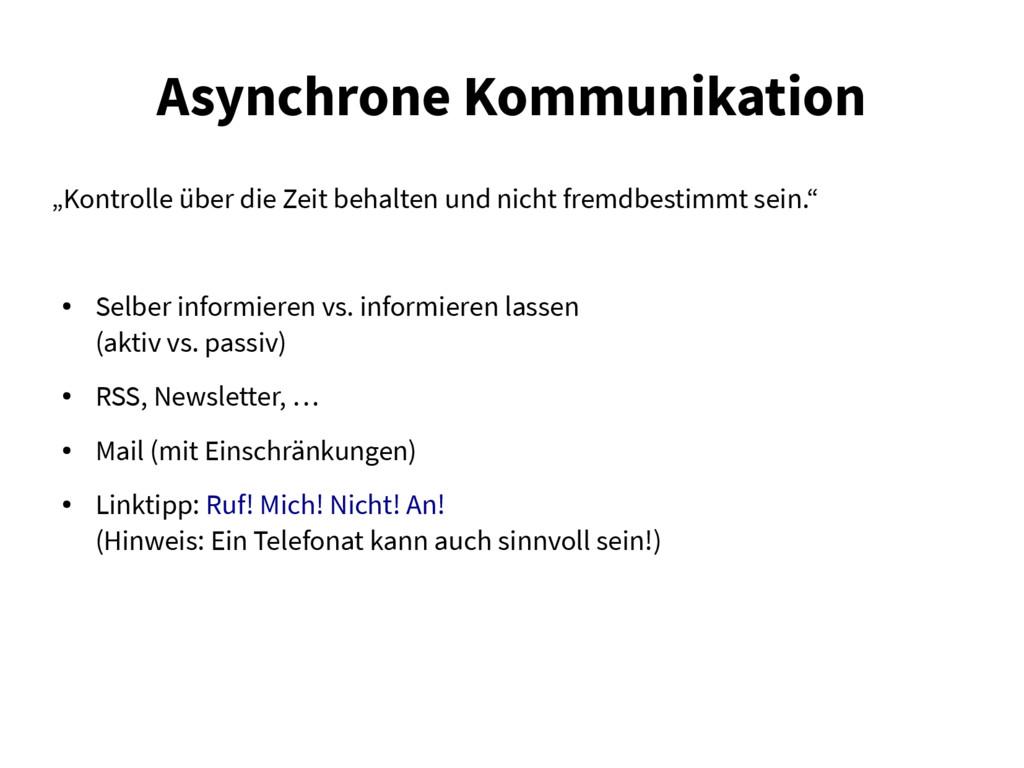 """Asynchrone Kommunikation """"Kontrolle über die Ze..."""